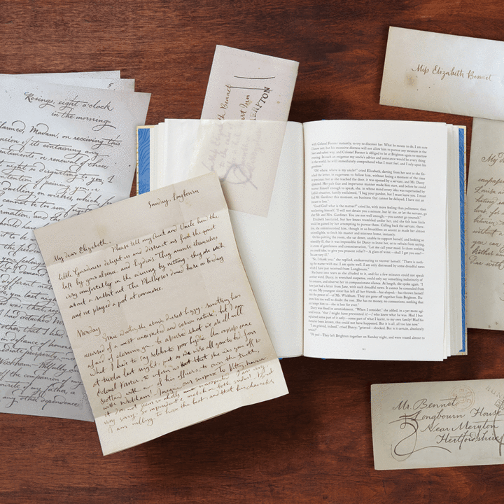 Image of Pride and Prejudice letters with glassine inserts. Image Chronicle Books.