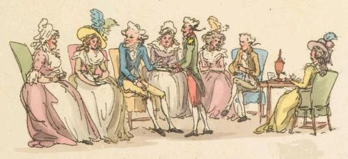 Thomas Rowlandson drawing of an afternoon tea visit