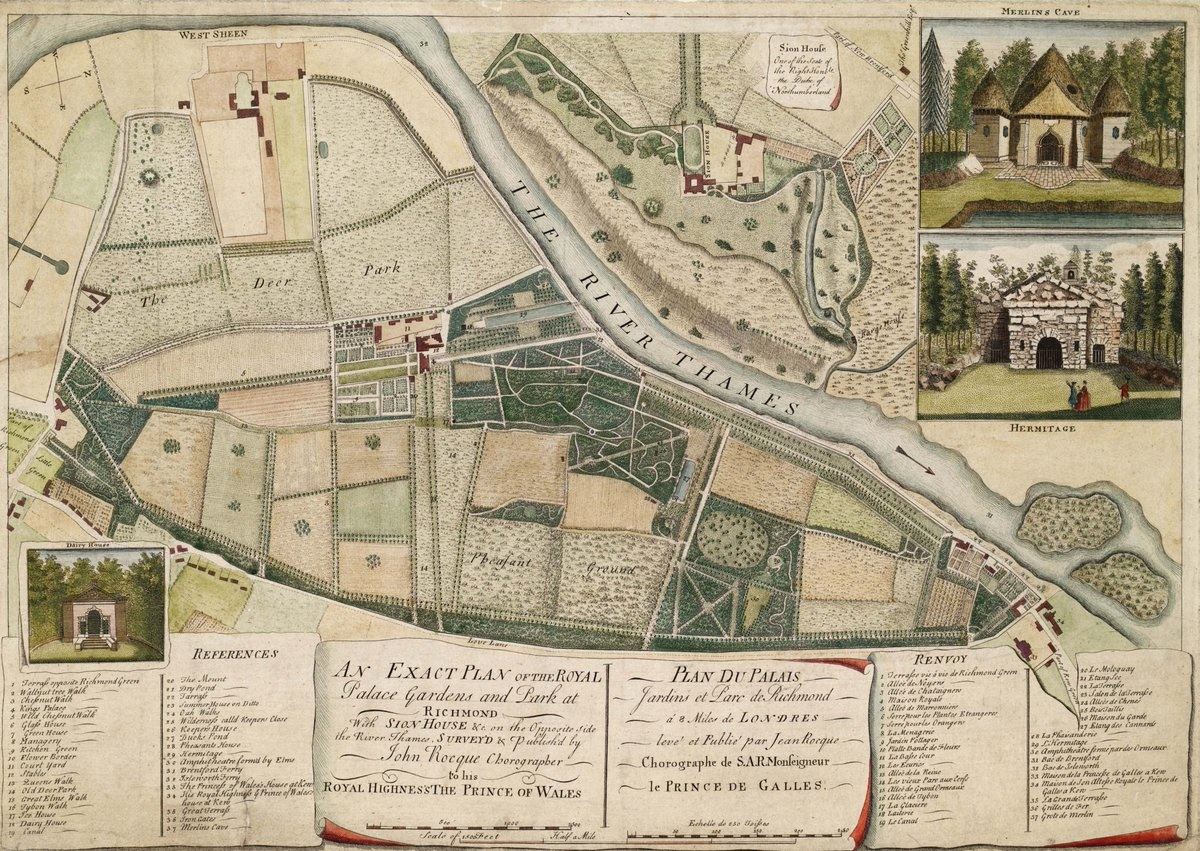 Color illustration of Kew Gardens, 1754 by cartographer John Rocque. Kew Archives.