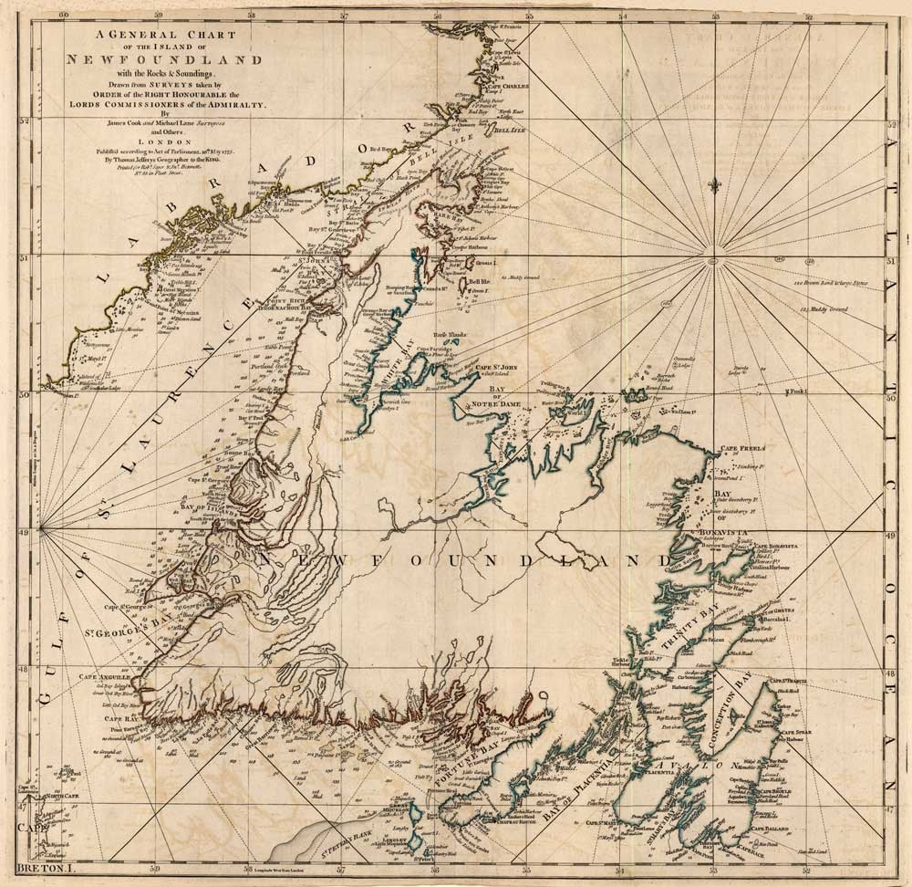 Image of Newfoundland, A General Chart, 1775, Captain James Cook,