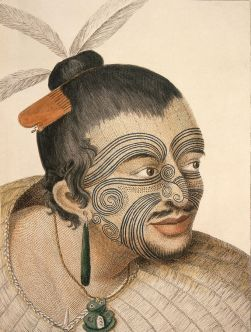 Color engraving of a Maori Chief, 1784, Sydney Parkinson, public domain image, Wikimedia