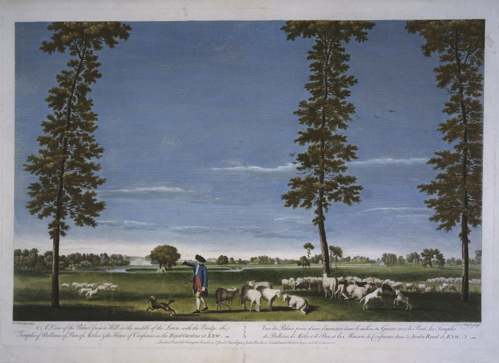 Color illustration of A view of Kew Gardens with a flock of sheep, by William Woollett, c1765 (© Historic Royal Palaces)