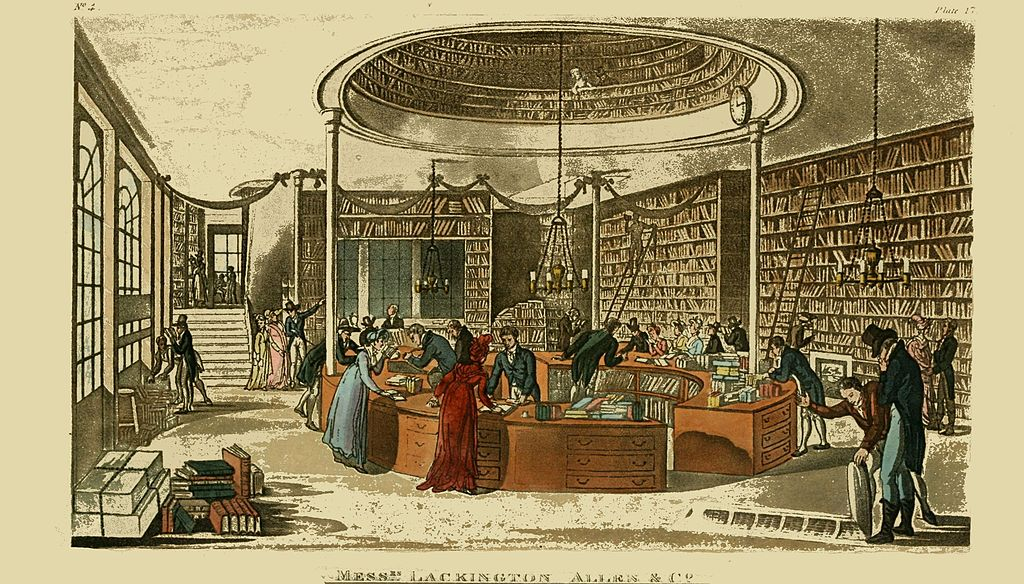 Image of a circulating library owned by Messrs Lackington Allen & Co, 1809. Image in the public domain