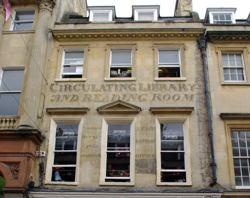 Image of lettering on a building in Bath that was once a Circulating Library and Reading Room on Milsom Street. Image courtesy of Tony Grant.