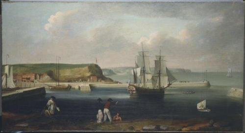 Oil painting of Endeavour Leaving Whitby, by Thomas Luny, 1768, Wikimedia, creative commons