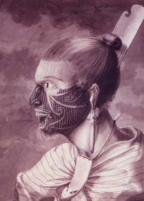 Black and white profile of a Maori by Sydney Parkinson, public domain image, Wikipedia
