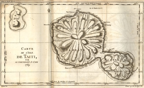 Black and white illustration of an 18th c. map of Tahiti