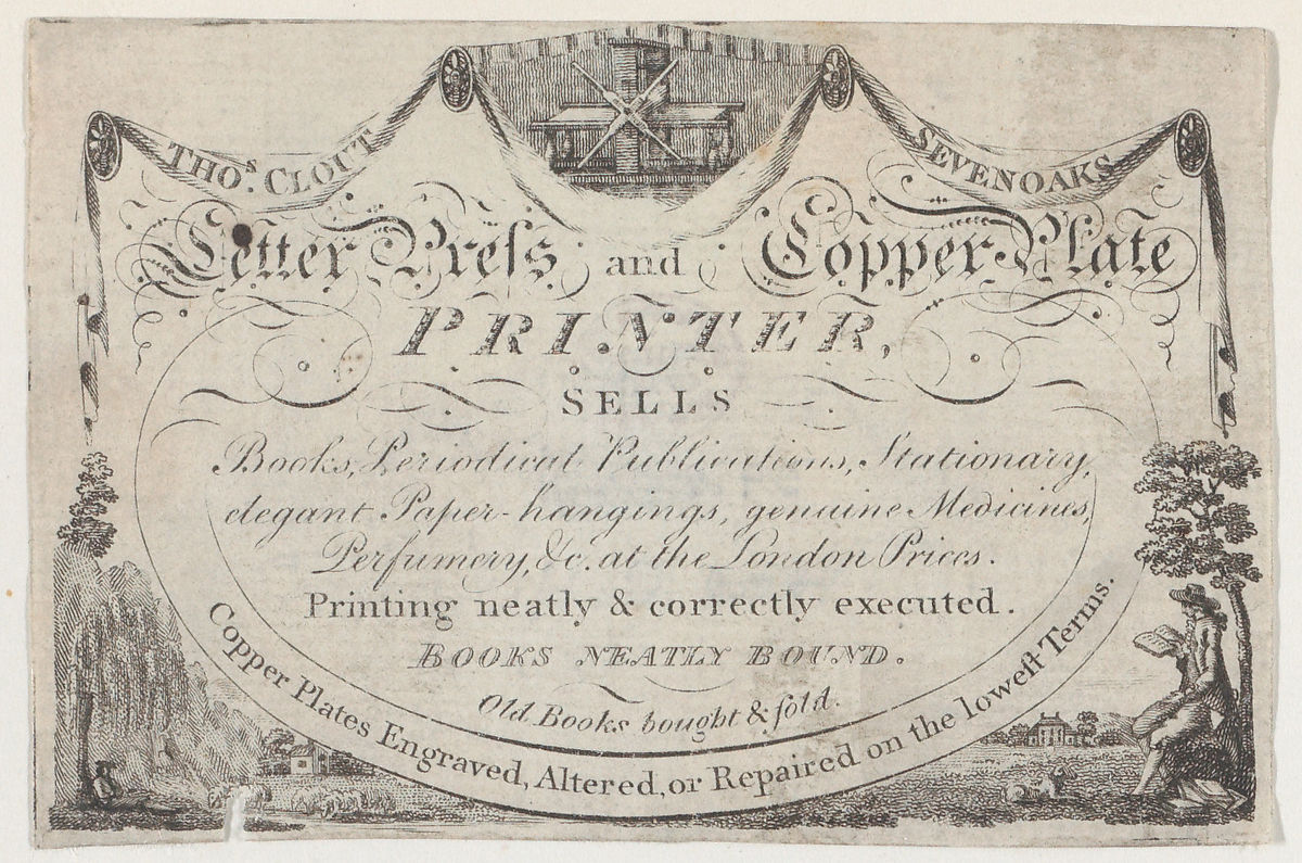 Image of a Trade Card of Thomas Clout, Printer. An engraving of a printing press is at the top center of the card. Public domain image, courtesy of the Metropolitan Museum of Art.