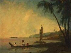 Image of a View from Point Venus, Tahiti, where Cook and his men observed the transit of Venus. Oil on canvas, William Hodges, 1744-1797. Credit-National Library of Australia.
