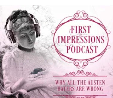 Image of Victorian woman listening to a podcast with earphones