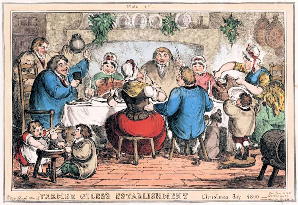 Cartoon of Farmer Giles's Establishment: Christmas Day-1800.