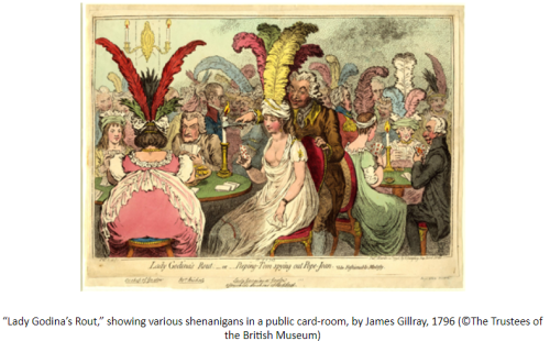 "Image of ""Lady Godina's Rout,"" showing various shenanigans in a public card-room, by James Gillray, 1796 (©The Trustees of the British Museum)"
