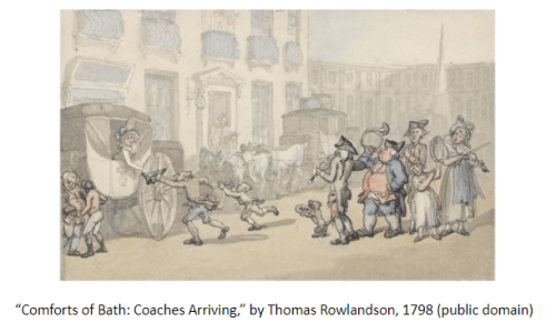 "Image of ""Comforts of Bath: Coaches Arriving,"" by Thomas Rowlandson, 1798 (public domain)"
