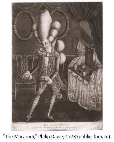 "Image of ""The Macaroni,"" Philip Dawe, 1773 (public domain)"