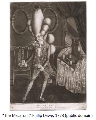 """Image of """"The Macaroni,"""" Philip Dawe, 1773 (public domain)"""