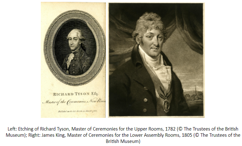 Two images: Left: Etching of Richard Tyson, Master of Ceremonies for the Upper Rooms, 1782 (© The Trustees of the British Museum); Right: James King, Master of Ceremonies for the Lower Assembly Rooms, 1805 (© The Trustees of the British Museum)