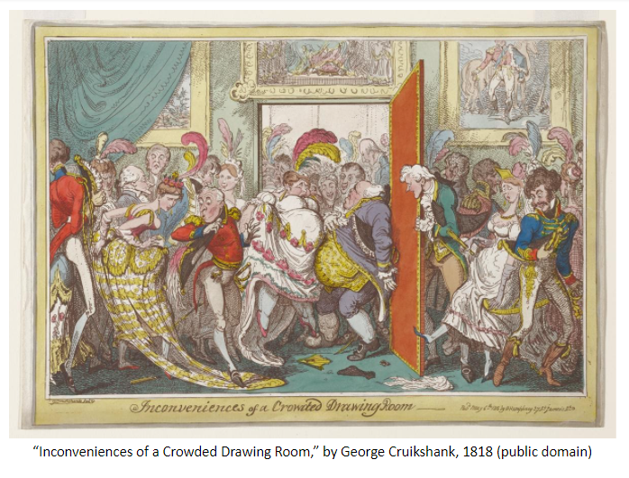 "Image of ""Inconveniences of a Crowded Drawing Room,"" by George Cruikshank, 1818 (public domain)"