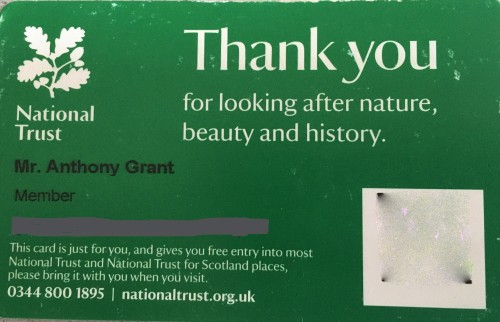 Photo of a National Trust membership card