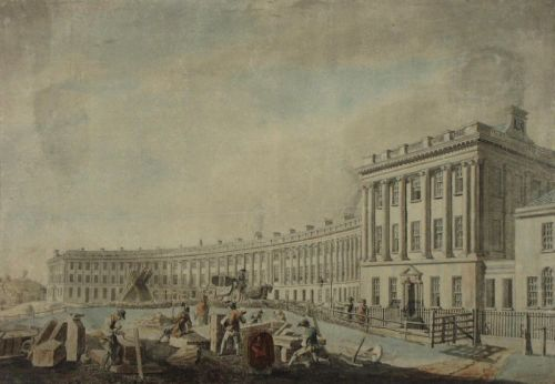Completion of the Royal Crescent, Thomas Malton, 1769. No. 1 Royal Crescent sits towards the front.
