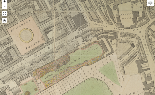 Closeup of Carlton House and surroundings, with pale coloration of grass, trees, and squares