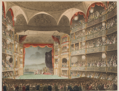 This colored lithograph depicts a full theatre with an audience watching a play with a backdrop of a rural scene