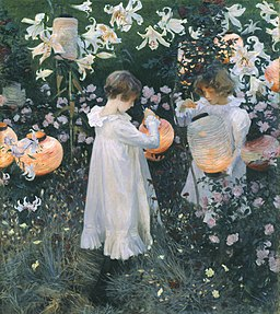 Painting of Carnation, Lily, Lily, Rose 1885-6 John Singer Sargent. The Tate Gallery. Public domain image.