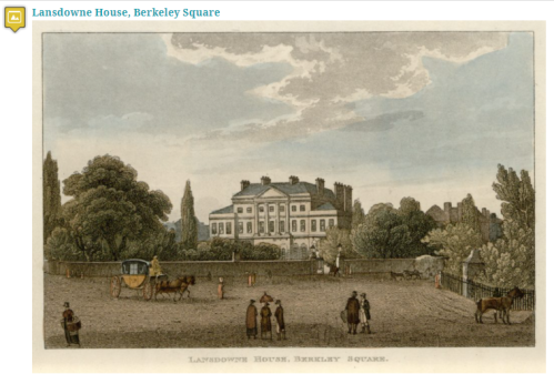 Lansdowne House in Berkeley Square sits among extensive gardens next to Berkeley Square, which is filled with people, a carriage, several waiting horses. and two dogs