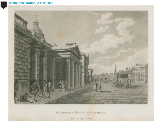Black and White engraving of the front of Melbourne House facing a wide unpaved street.