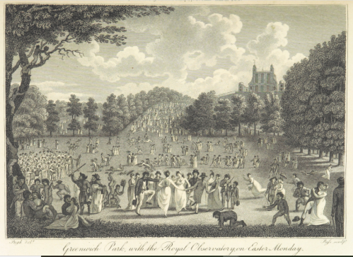 Black and white engraving of Greenwich Park with crowds celebrating Easter