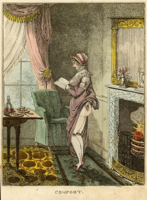 print cartoon of a lady warming her bare backside near a fire.