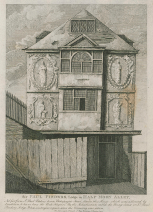 Black and white engraving of a medieval house