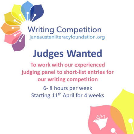 Poster recruiting judges for the short story contest hosted by the Jane Austen Literacy Foundation