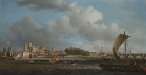 Painting of ca, 1745, Westminster from Lambeth, with the Ceremonial Barge of the Ironmongers Company
