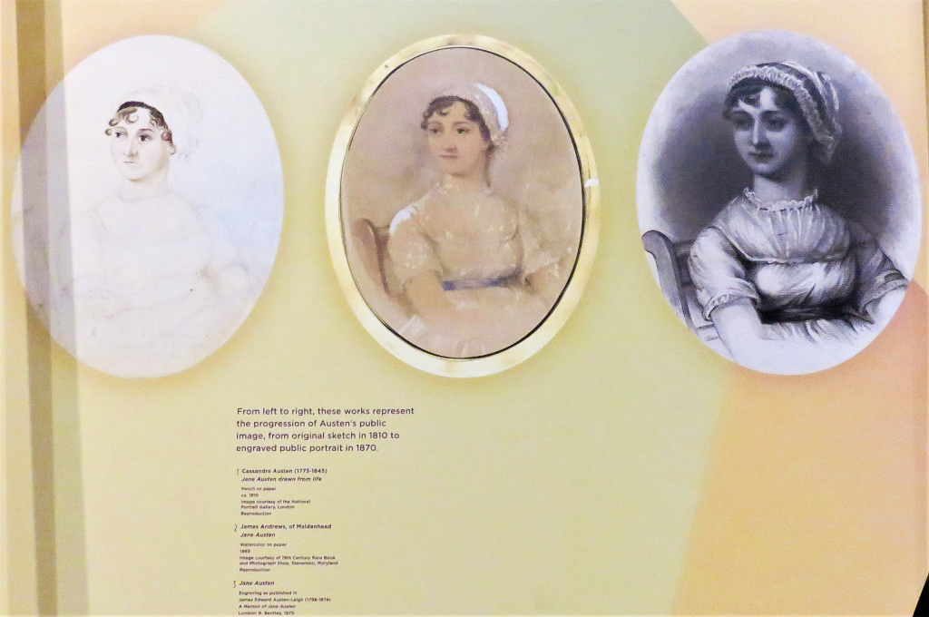 Images of Jane Austen taken in progression from 1810 to an engraved portrait in 1870, Folger Exhibit, 2016.