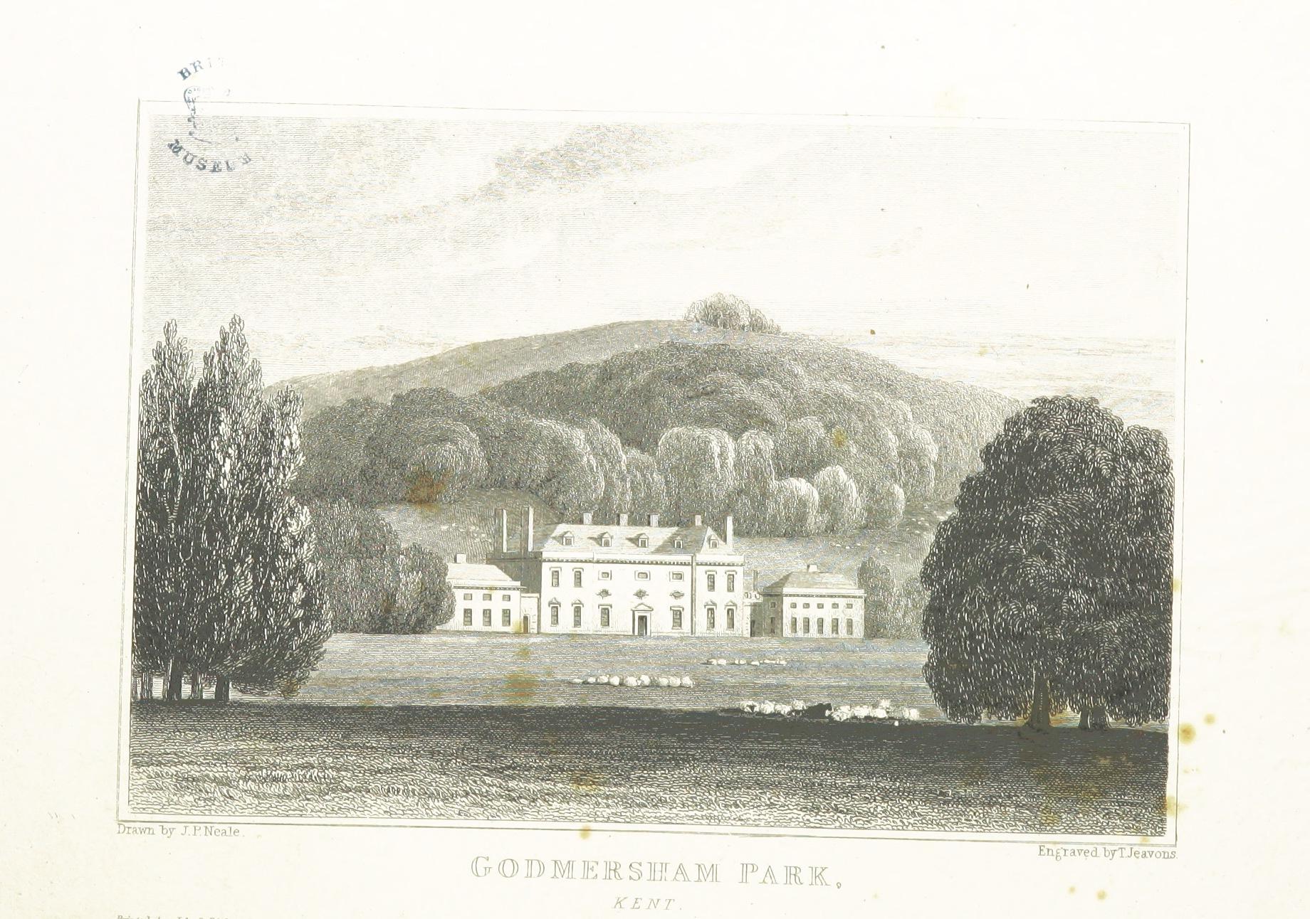 Engraving of Godmersham Park, Kent
