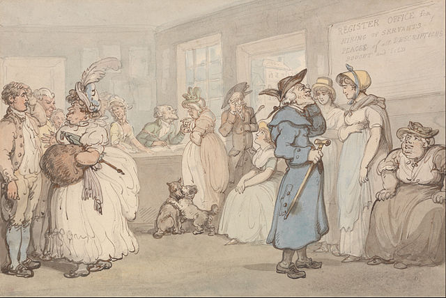 Watercolor of a busy office in which prospective employers interview and look over potential servant applicants