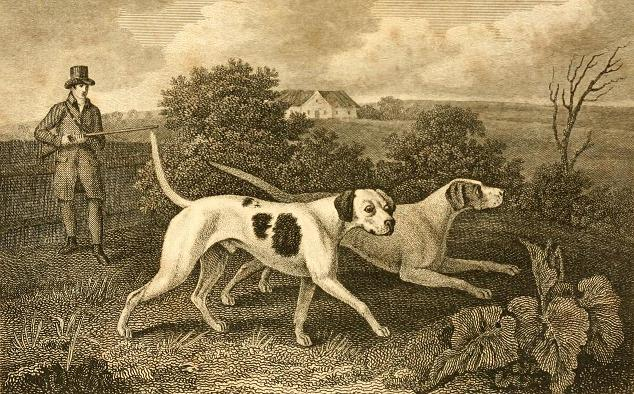 A black and white print of a hunter going out with two pointers, 1820 image.
