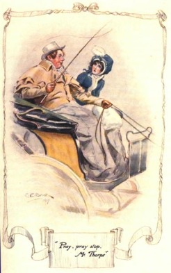 "C.E. Brock illustration, Northanger Abbey, ""Pray, pray, Stop Mr. Thorpe"""