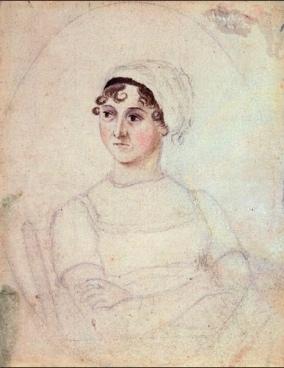 watercolor of Jane Austen