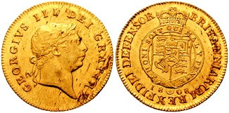 Image of the front and back of a half guinea