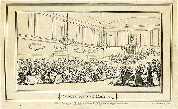 Rowlandson's black and white image of Bath's Ballroom